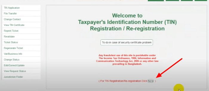 TIN Certificate Registration